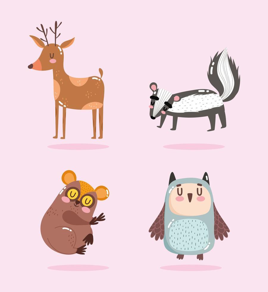 simpatici animali dei cartoni animati. piccola puzzola, cervo e gufo vettore