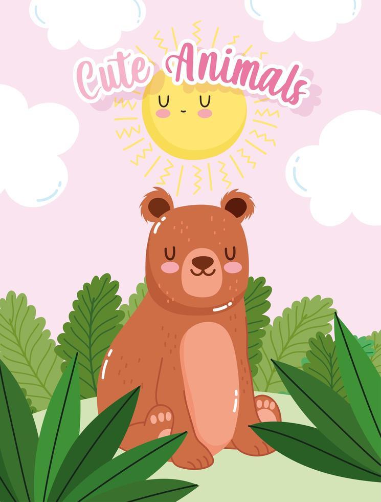 simpatico orso seduto nella foresta di erba vettore