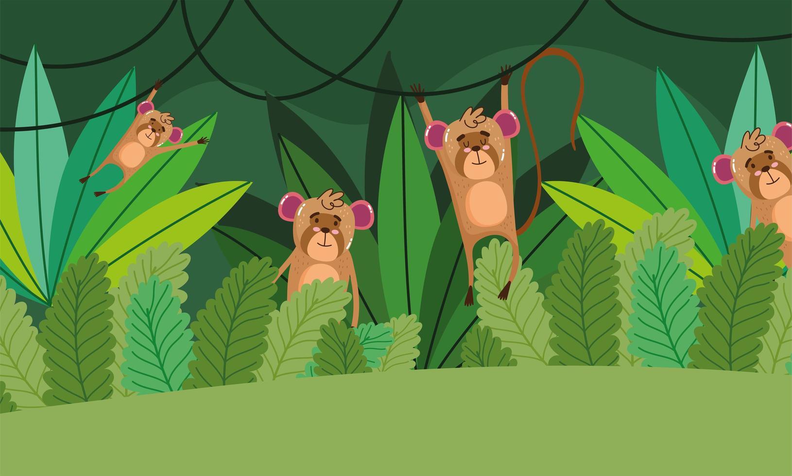 simpatiche scimmie sugli alberi. foresta natura selvaggia dei cartoni animati vettore