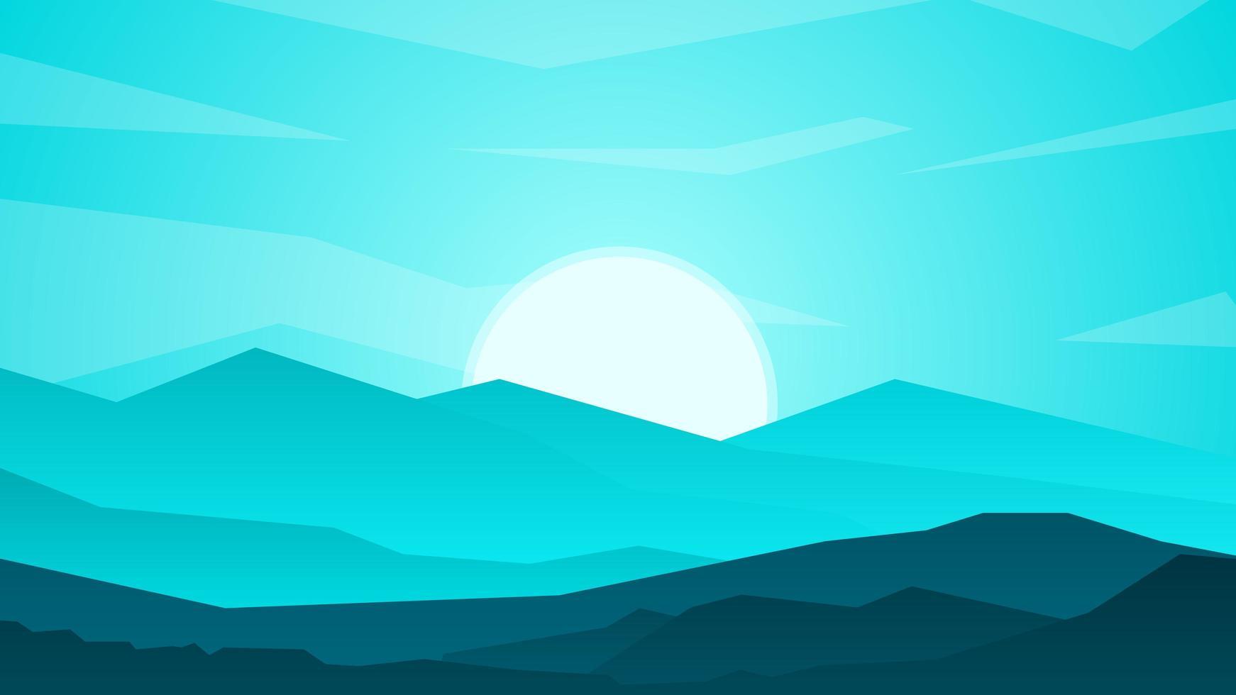 sfondo paesaggio tramonto con le montagne vettore