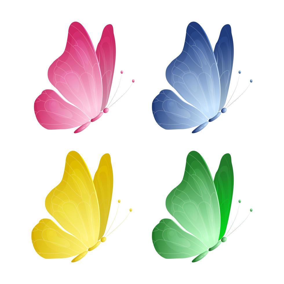 set di bellissime farfalle con colori diversi vettore