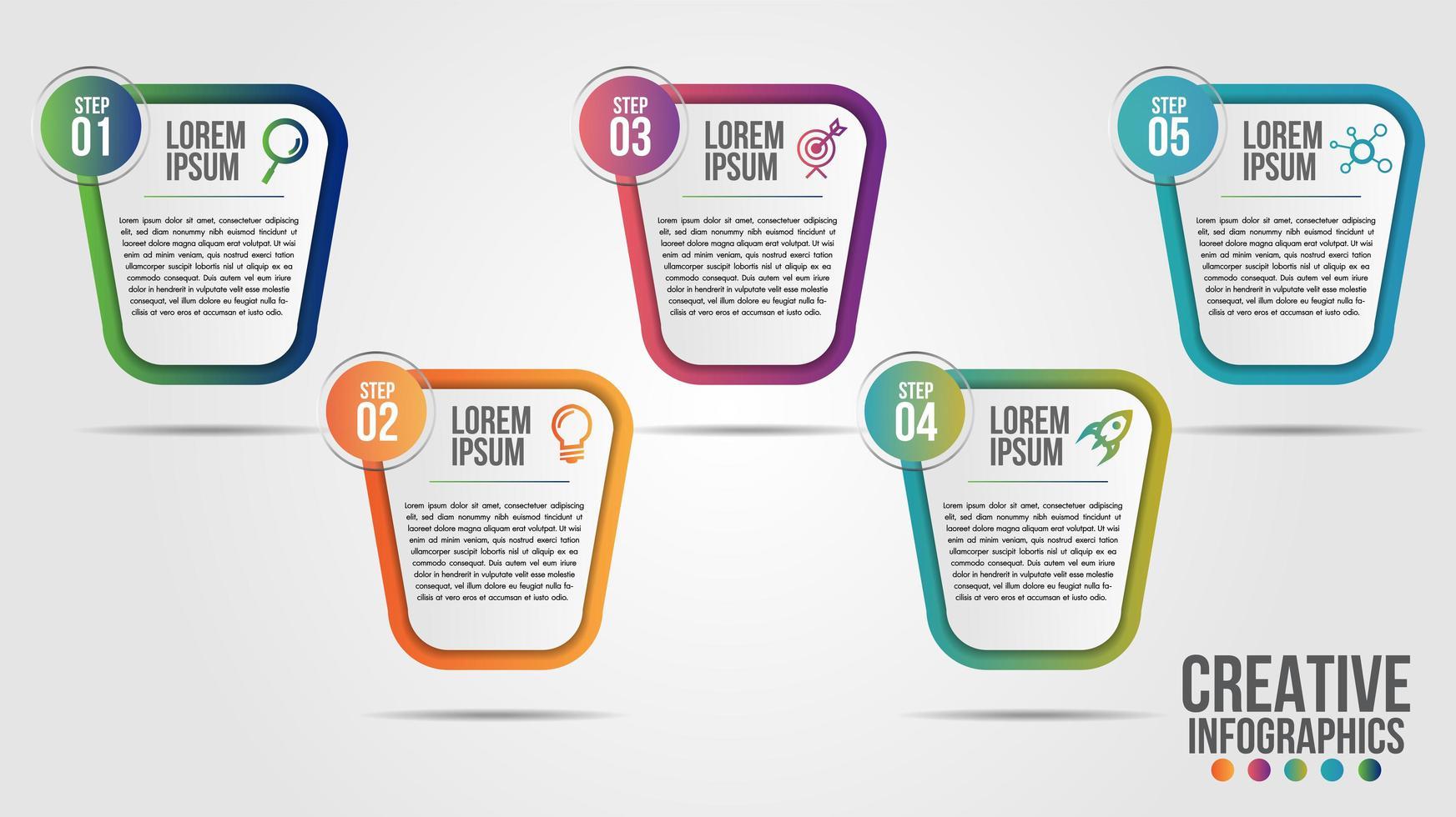 design moderno della timeline in 5 fasi vettore