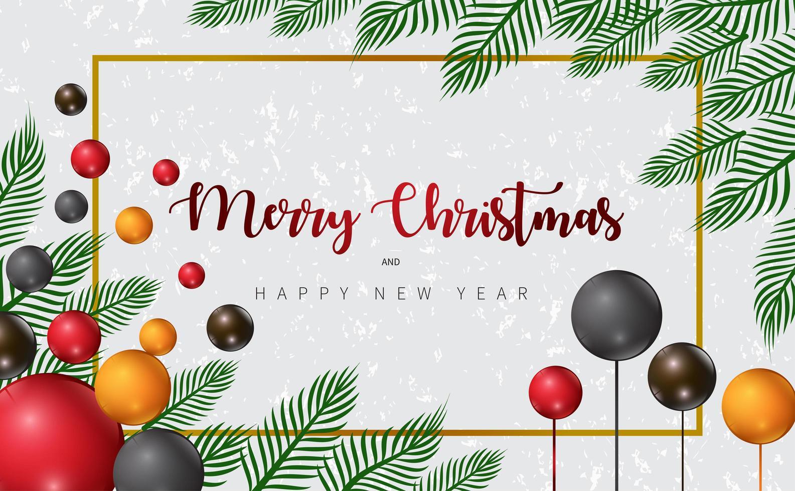 disegno di Natale con rami e palloncini colorati vettore