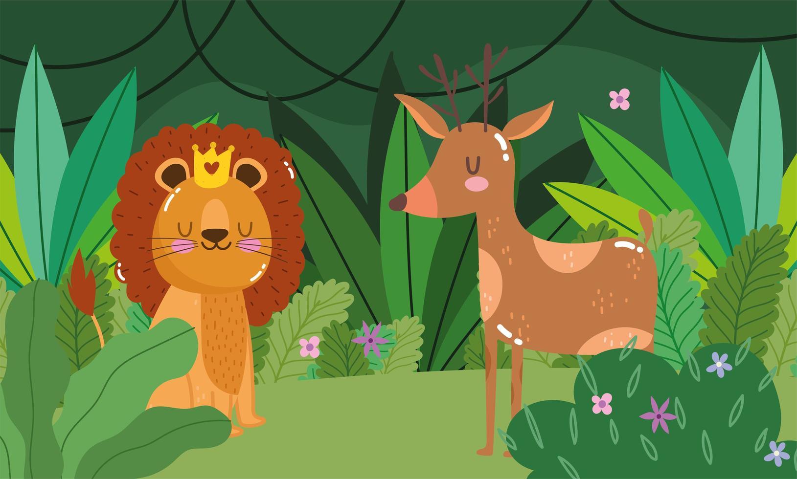 leone carino con cervi nella foresta vettore