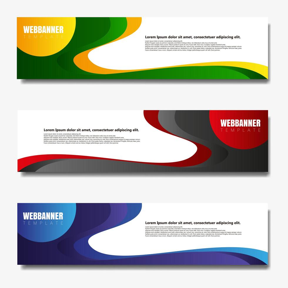 set di banner web colorato forma ondulata vettore