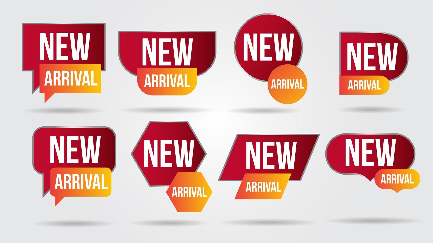 nuova collezione di etichette di arrivo vettore