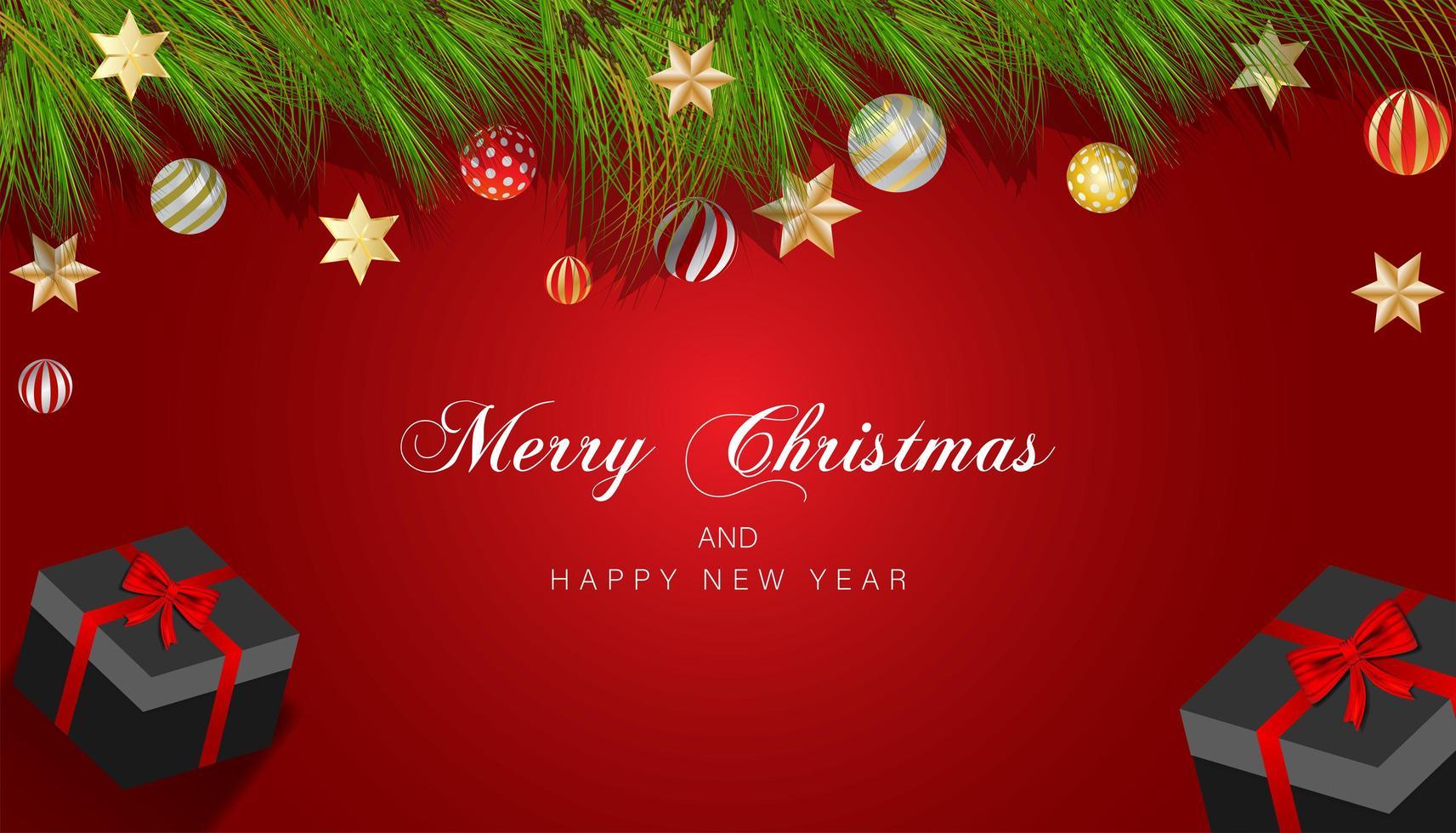 disegno di Natale con rami, ornamenti e stelle sul rosso vettore