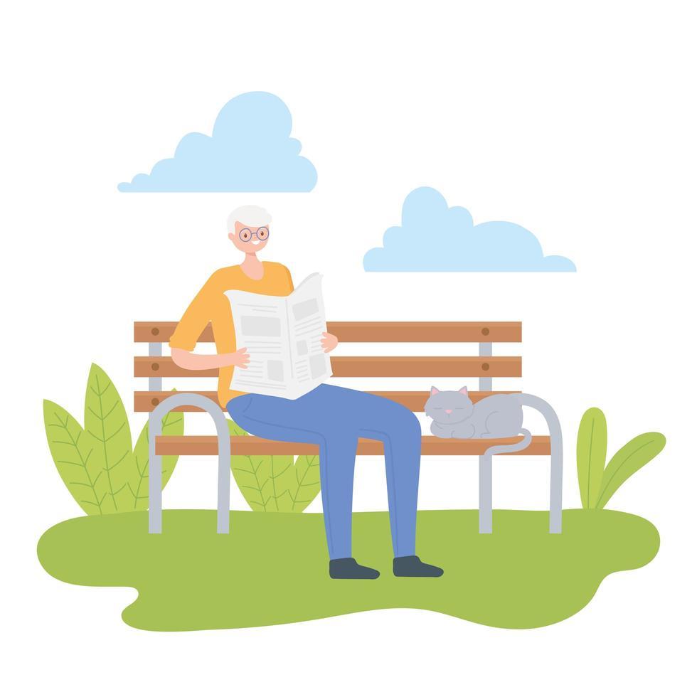uomo anziano leggendo un giornale all'aperto vettore