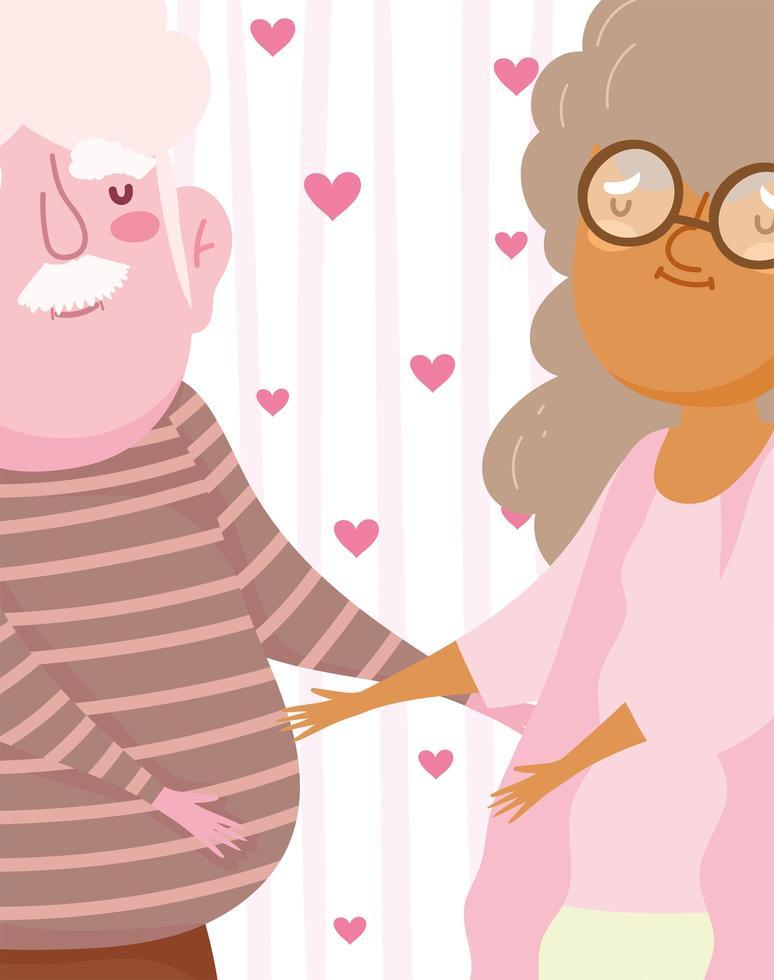 vecchia coppia innamorata su sfondo romantico di cuori vettore