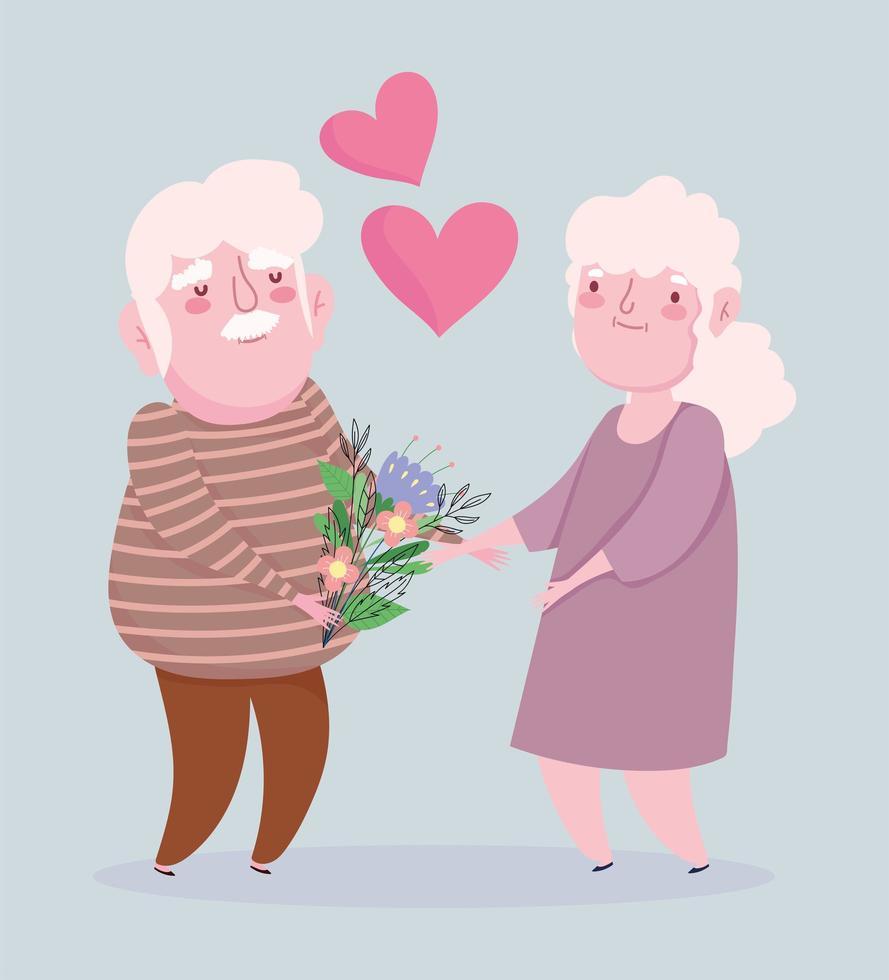 nonno e nonna con fiori vettore