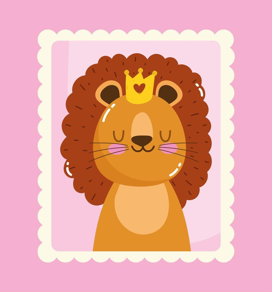 simpatico piccolo leone con corona nel timbro postale vettore
