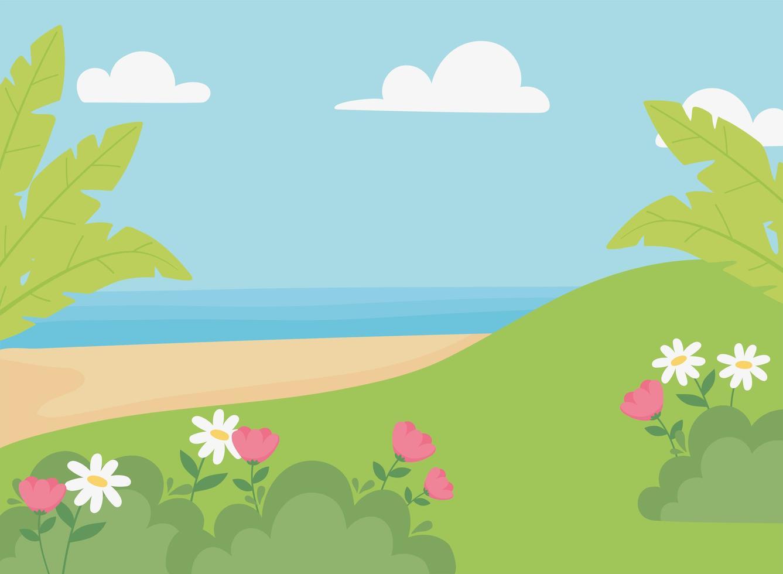 paesaggio, prato, fiori, spiaggia di sabbia, mare e cielo vettore