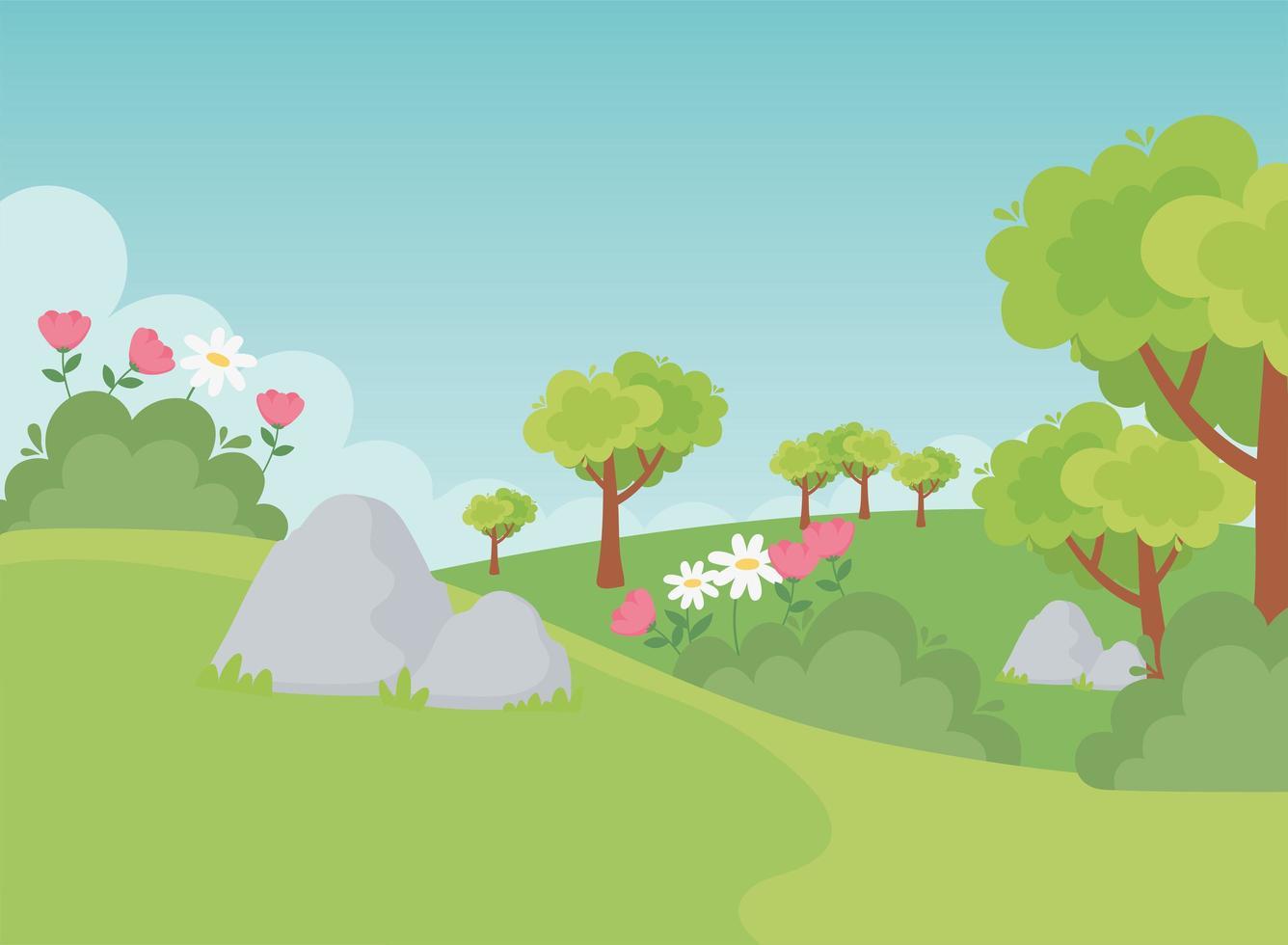 paesaggio, pietre, alberi, fiori e natura del campo vettore