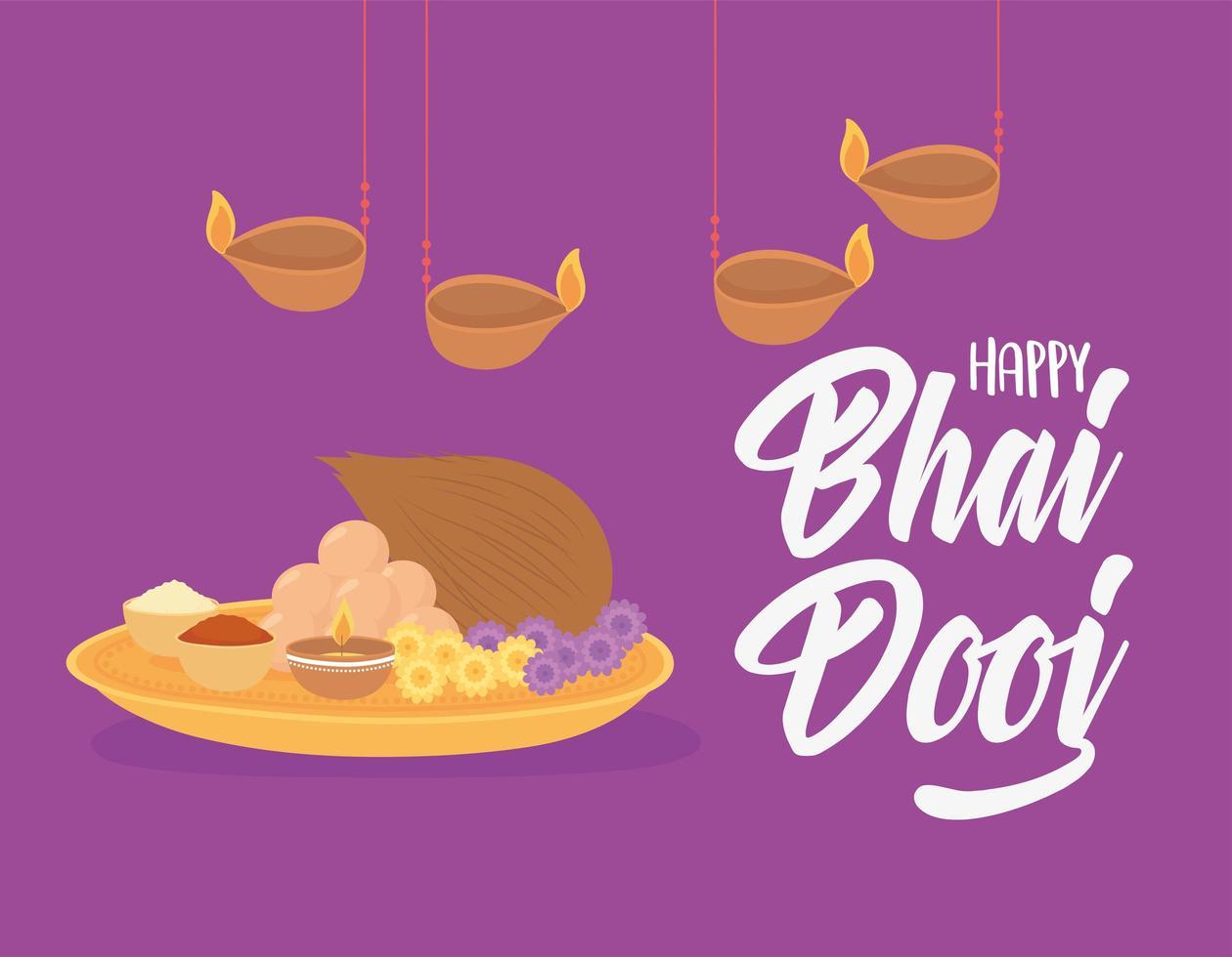 felice bhai dooj. lampade a sospensione, celebrazione del cibo indiano vettore