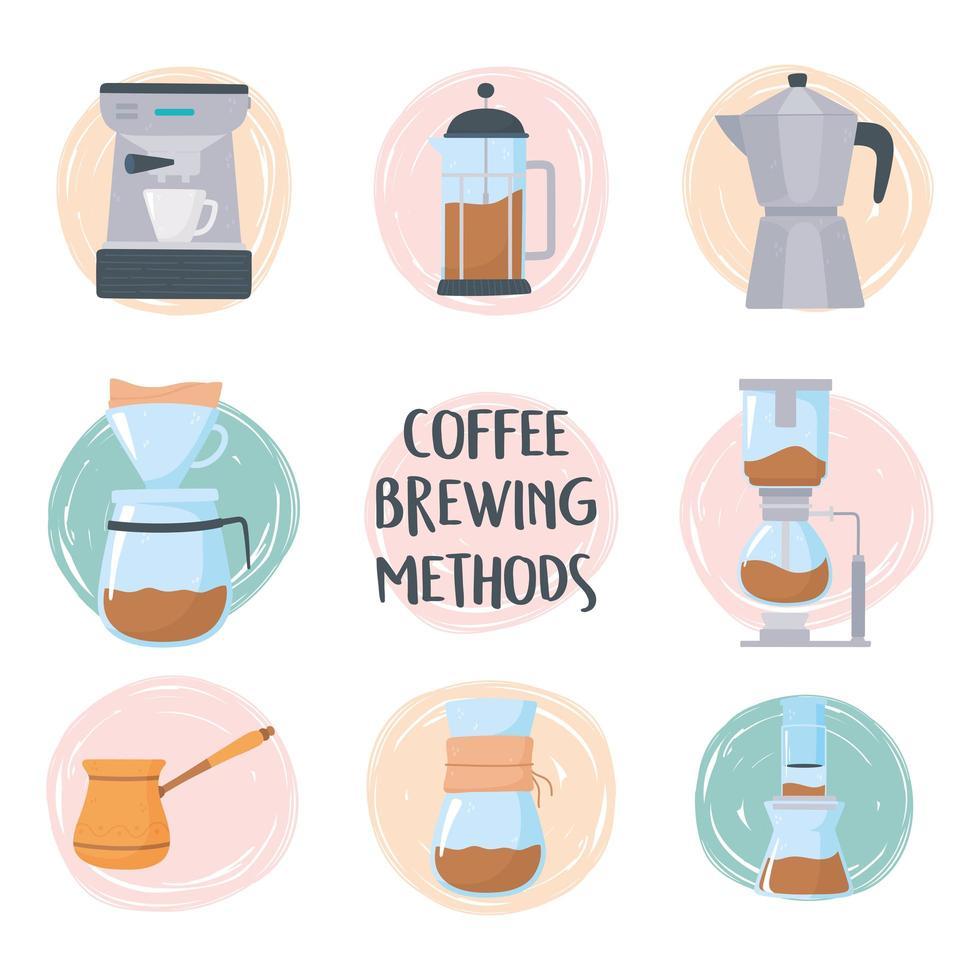 set di icone di metodi di preparazione del caffè vettore