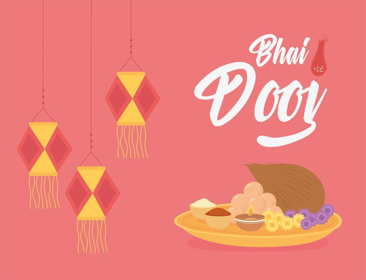 felice bhai dooj. lanterne sospese e cibo tradizionale vettore