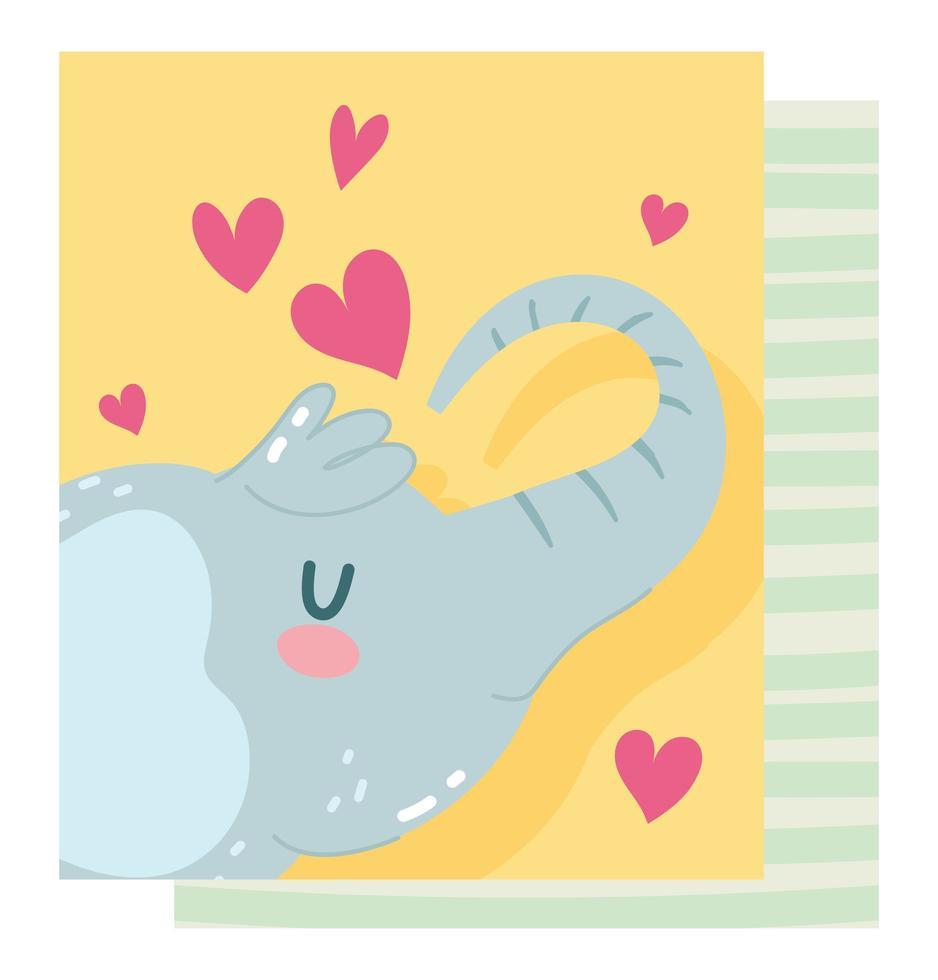 carattere piccolo elefante selvaggio con carta di cuori vettore