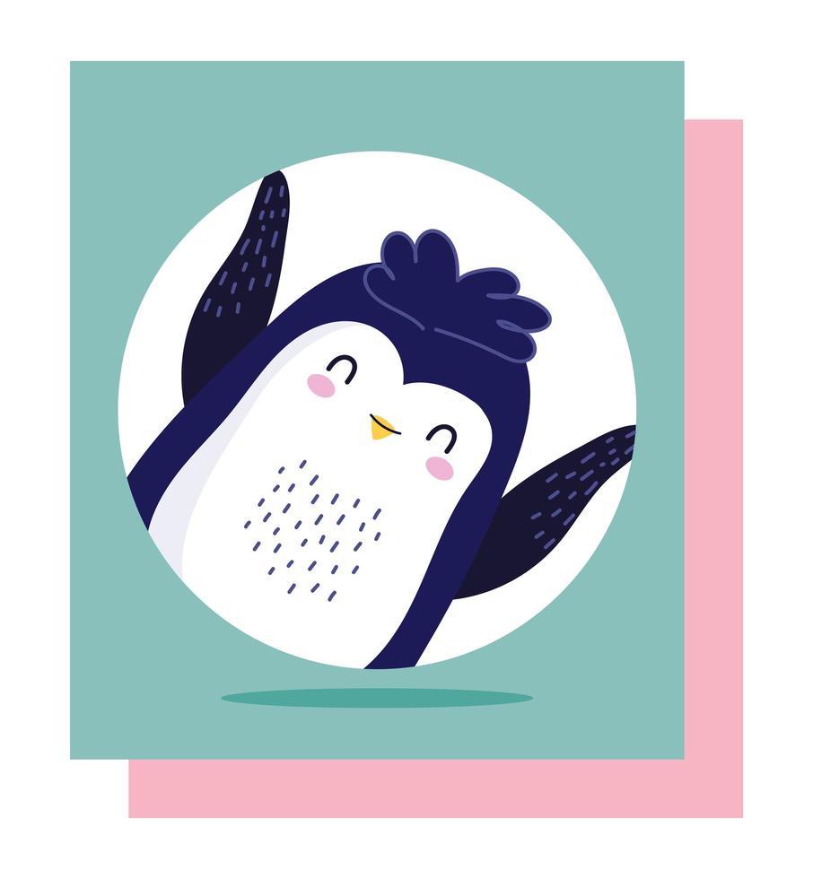 simpatico cartone animato piccolo pinguino vettore