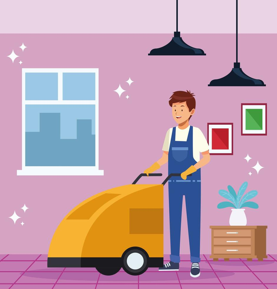 operaio maschio delle pulizie con carrello vettore