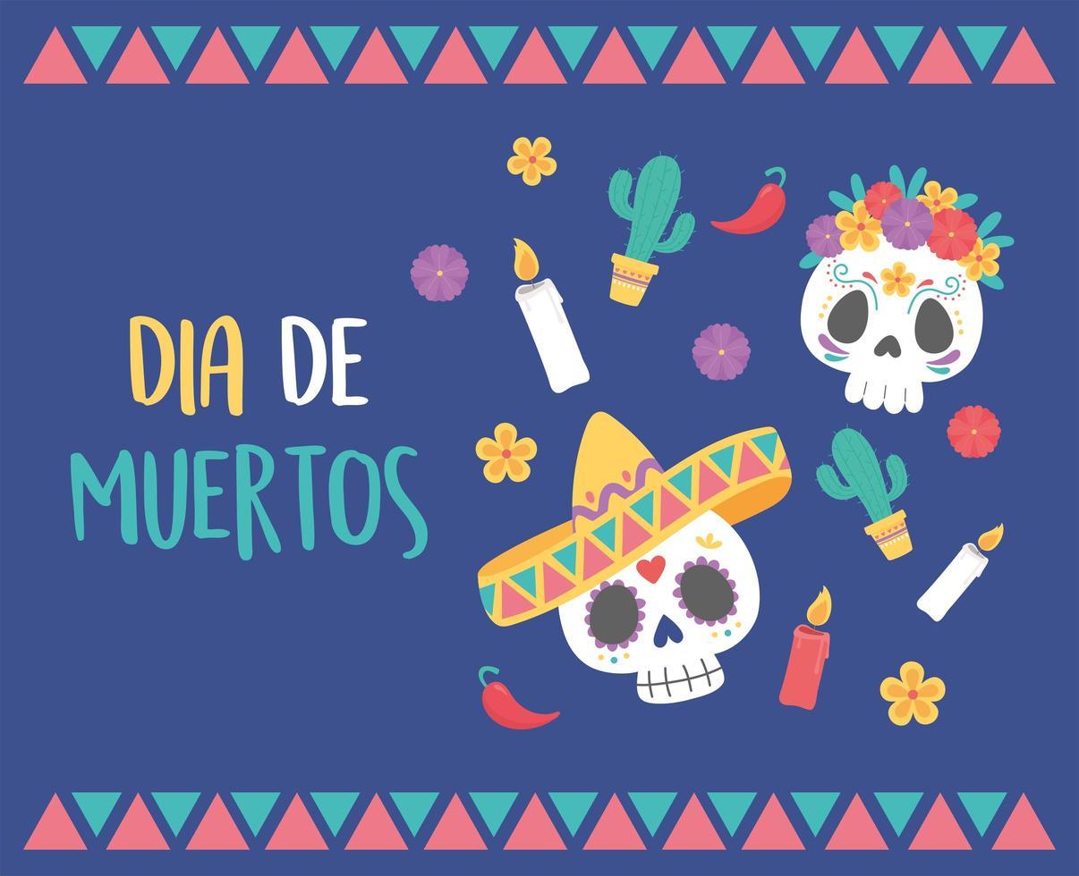 celebrazione del giorno dei morti con teschi di zucchero vettore