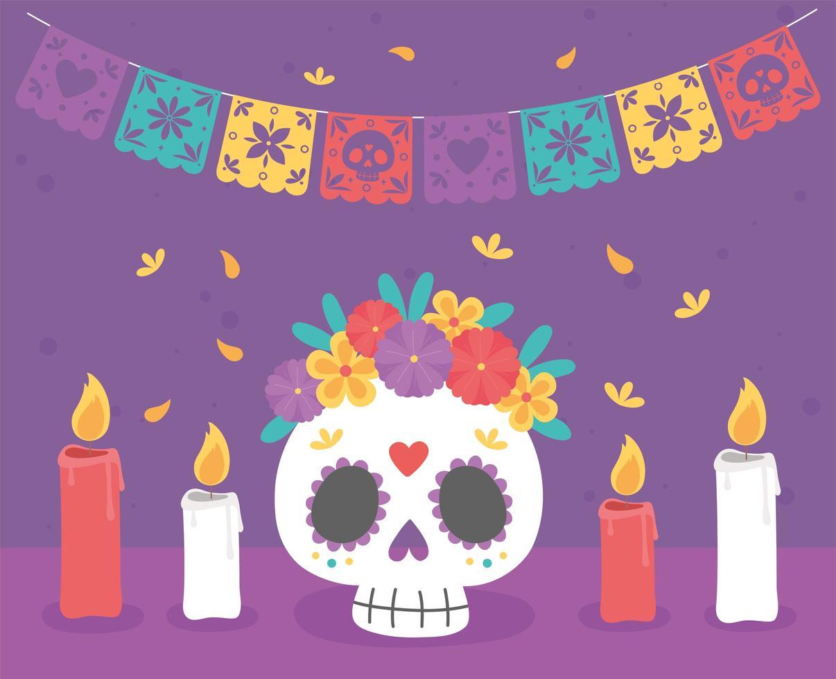 celebrazione del giorno dei morti con teschio di zucchero vettore