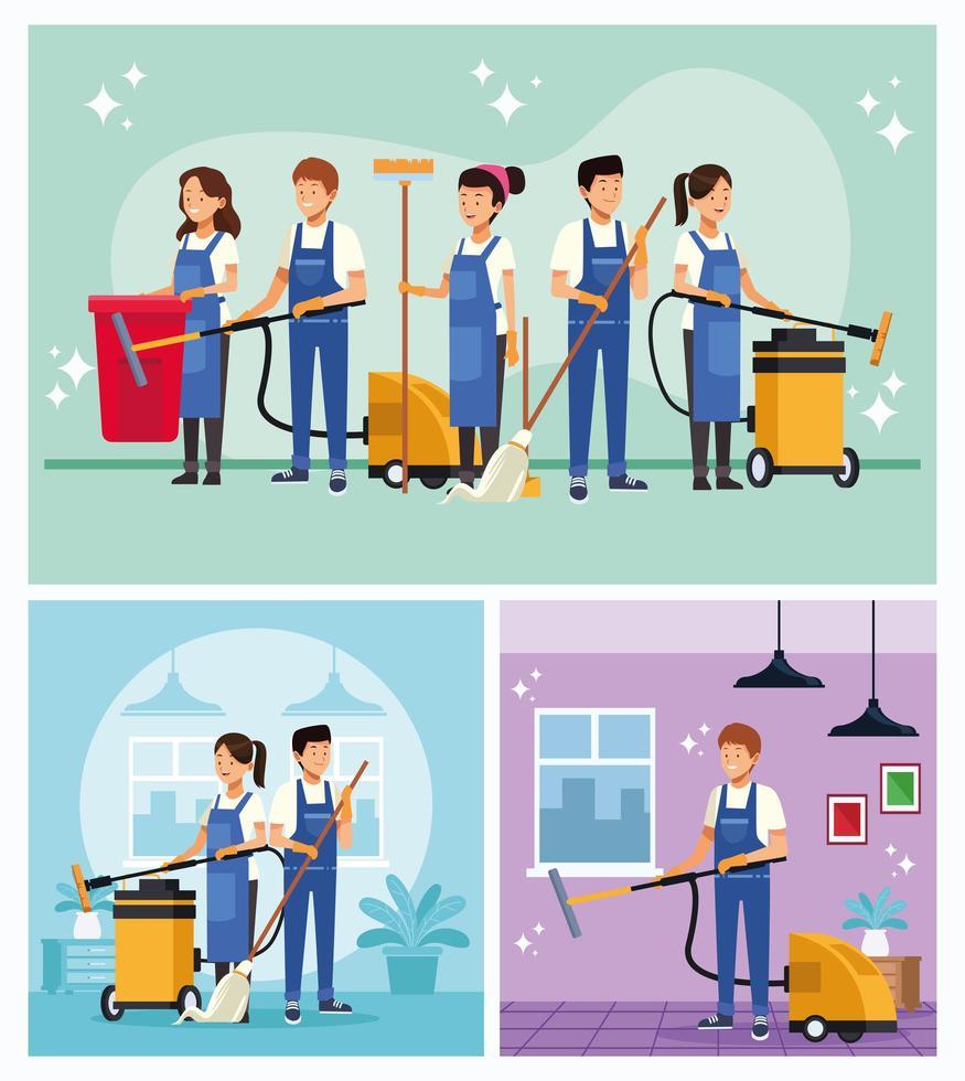 set di lavoratori del team di pulizie vettore