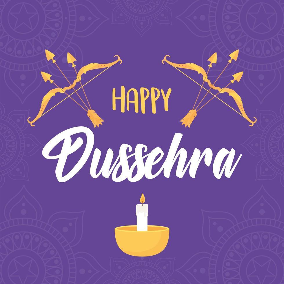 felice festival di dussehra. arco, frecce e candele vettore