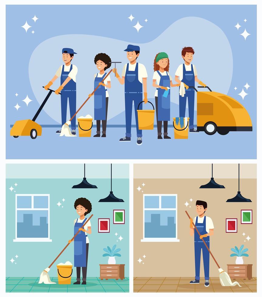 lavoratori del team di pulizie con set di attrezzature vettore