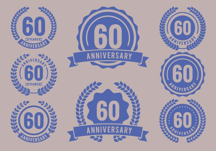 Anniversary Badges 60th Year Celebration vettore