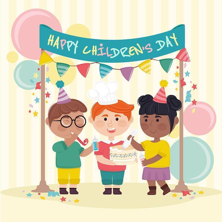 bambini che celebrano la giornata dei bambini vettore