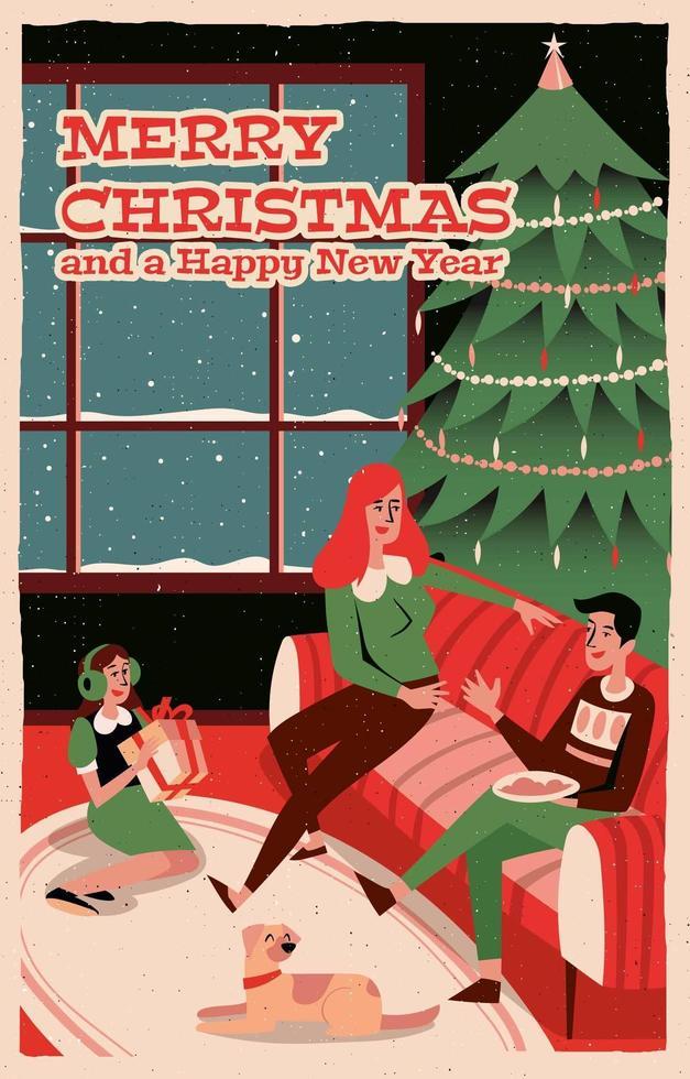 famiglia festeggia il Natale a casa vettore