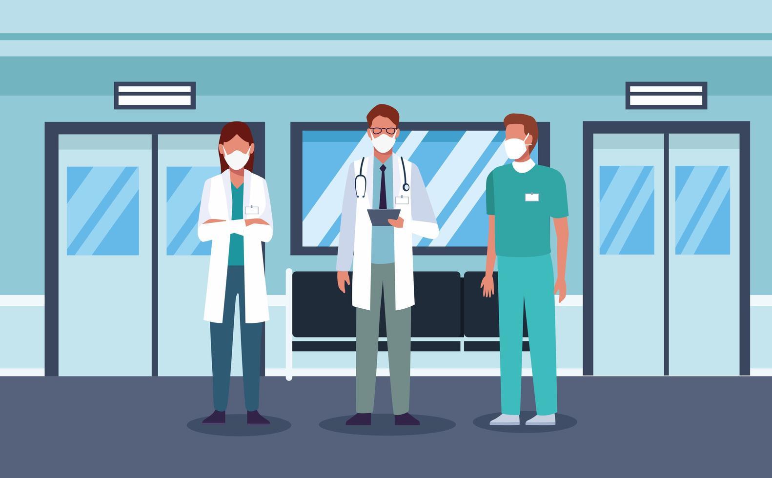 gruppo di operatori sanitari che indossano maschere vettore