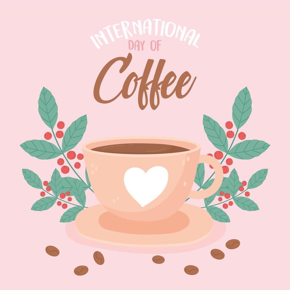 giornata internazionale del caffè. bevanda, semi freschi e foglie vettore