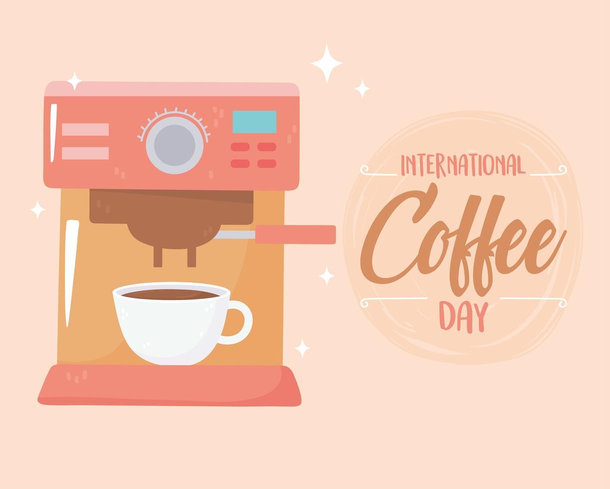 giornata internazionale del caffè. bevanda e tazza del produttore della macchina vettore