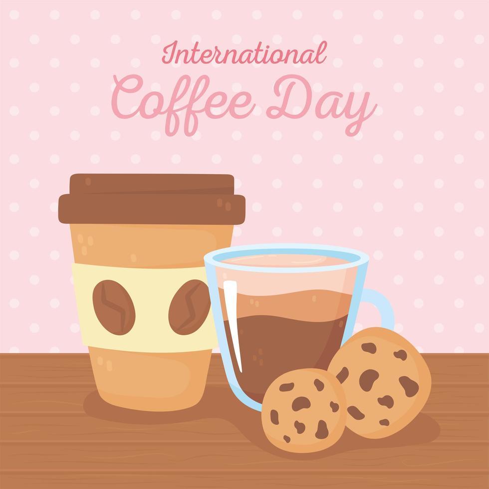giornata internazionale del caffè. tazza e biscotti da asporto di carta vettore