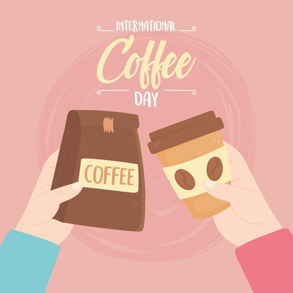 giornata internazionale del caffè. pacchetto e tazza usa e getta vettore