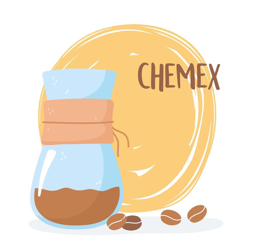 metodi di preparazione del caffè. caffè chemex con chicchi vettore