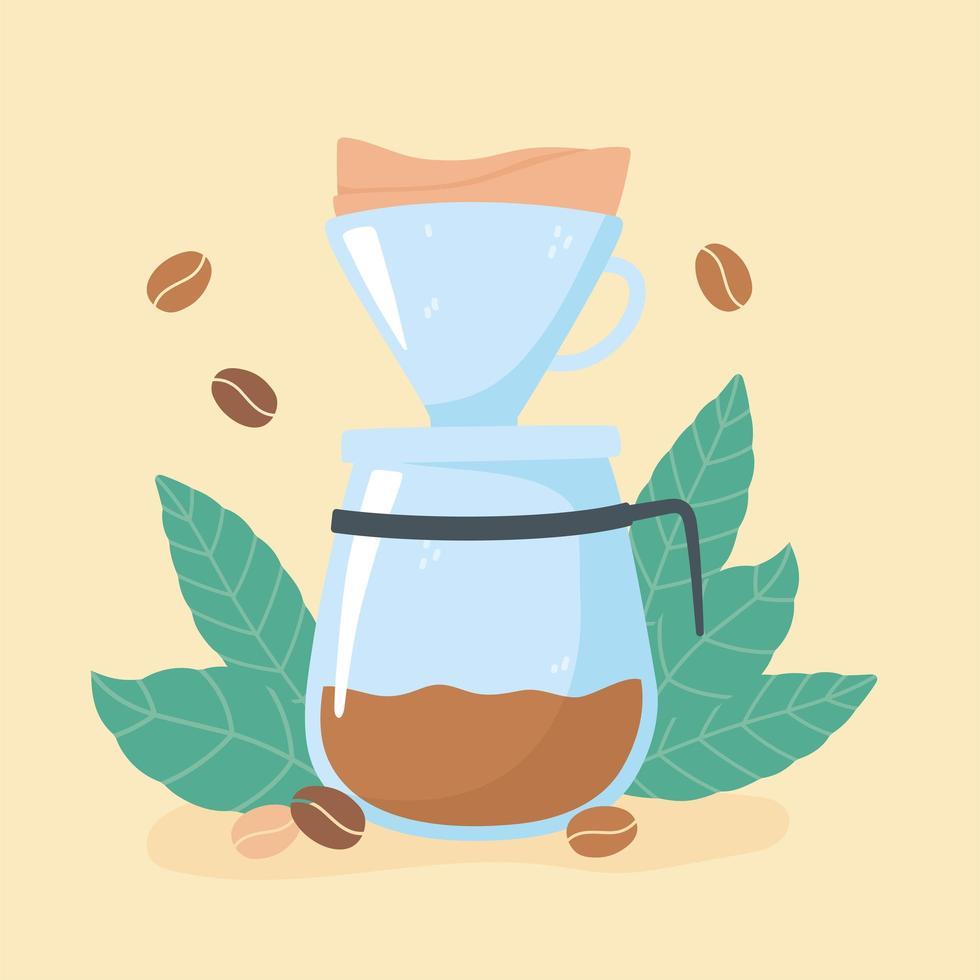 metodi di preparazione del caffè. macchina del gocciolamento e chicchi di caffè vettore