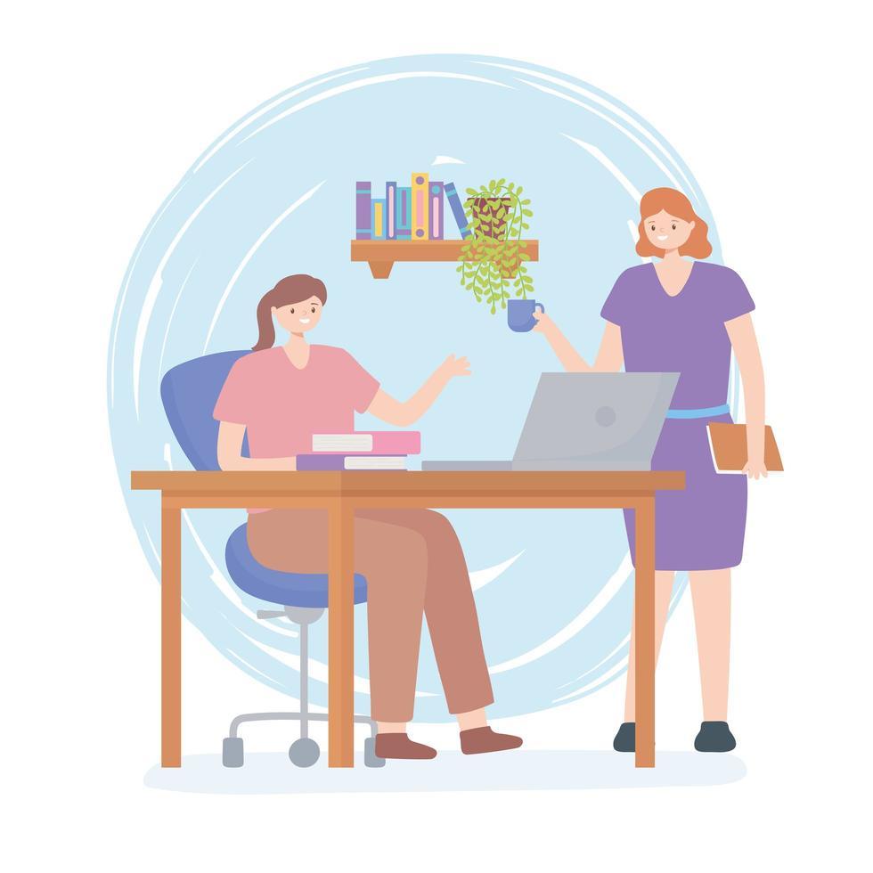 concetto di coworking con donne che lavorano insieme vettore