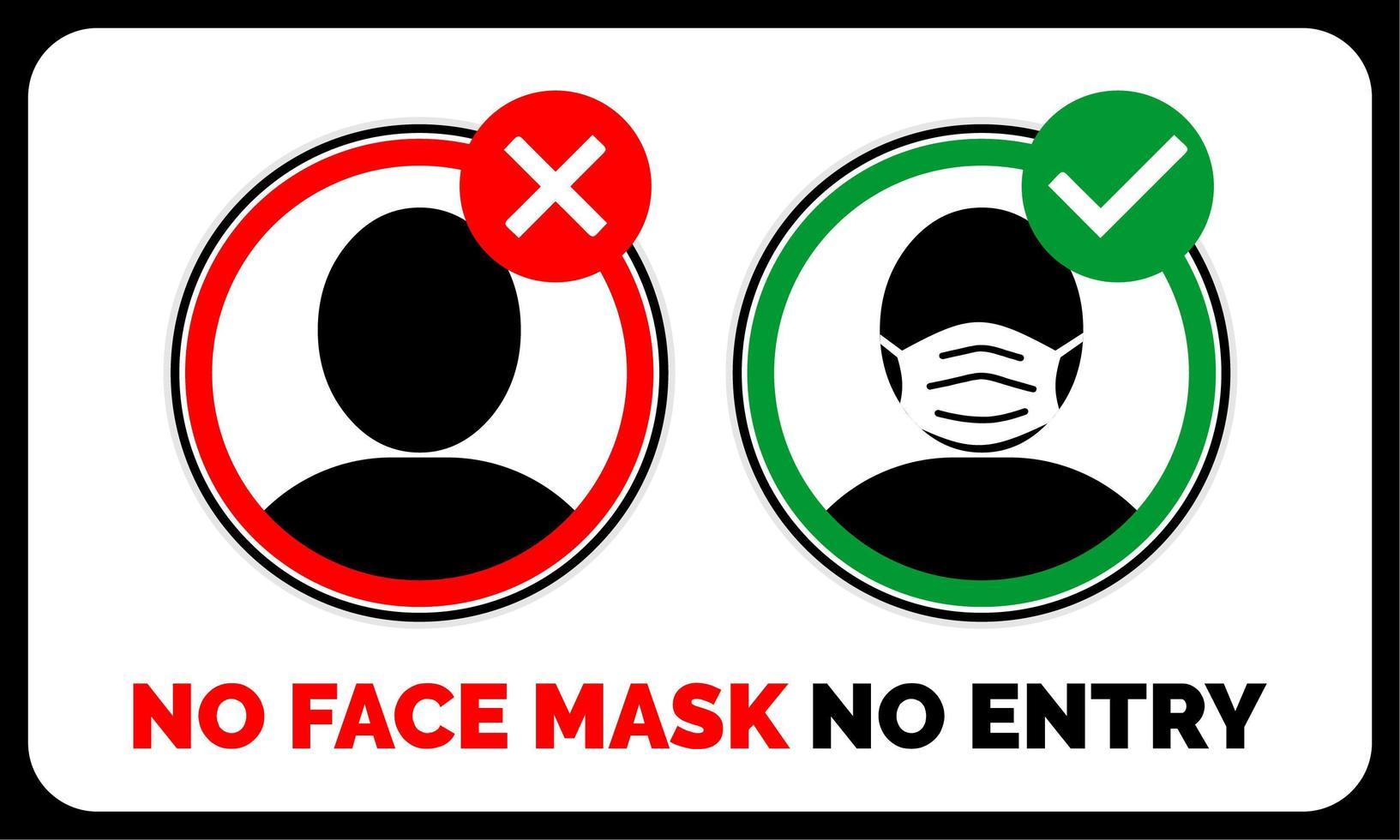 nessuna maschera facciale, nessun avviso di ingresso vettore