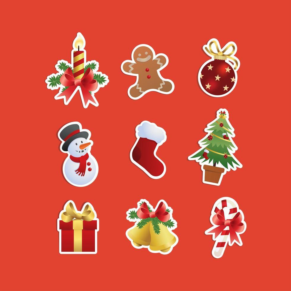 set di icone di celebrazione della vigilia di Natale vettore