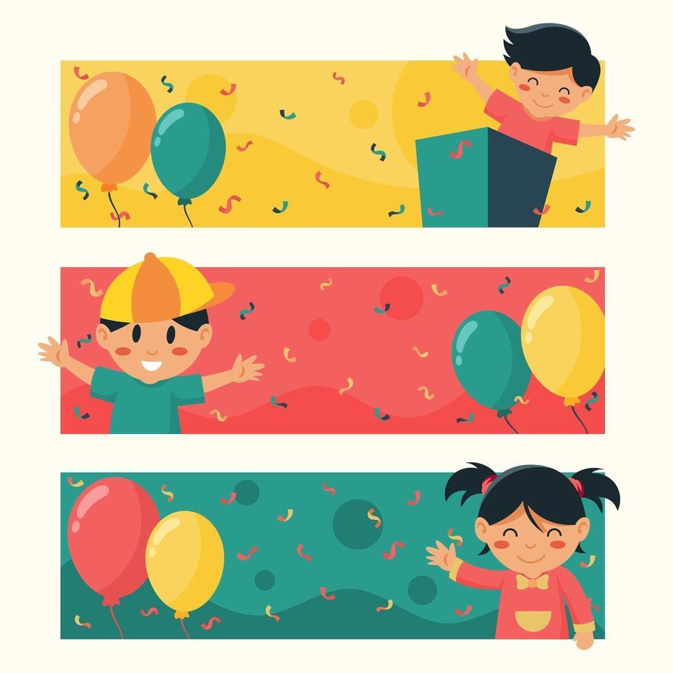 bandiera di celebrazione dei bambini con palloncini e coriandoli vettore