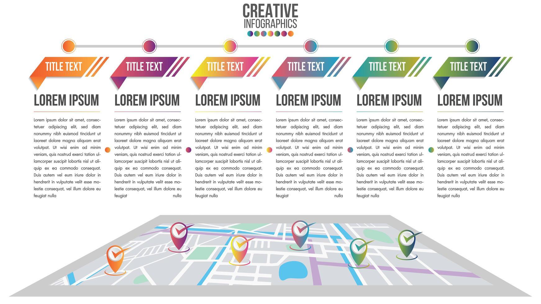 timeline moderna infografica con sistema di mappe vettore