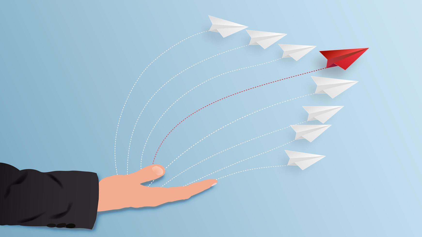 aeroplano di carta che vola dalla mano dell'uomo d'affari come concetto di soluzione aziendale. vettore