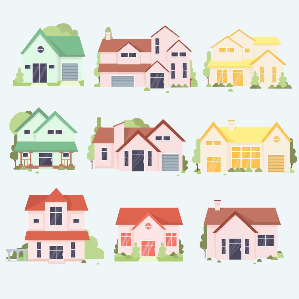 collezione di case colorate dei cartoni animati vettore
