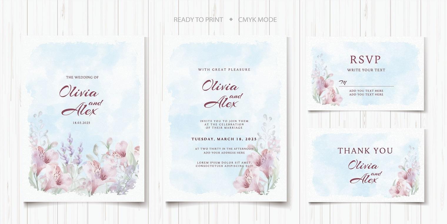 set di modelli di invito matrimonio floreale vettore