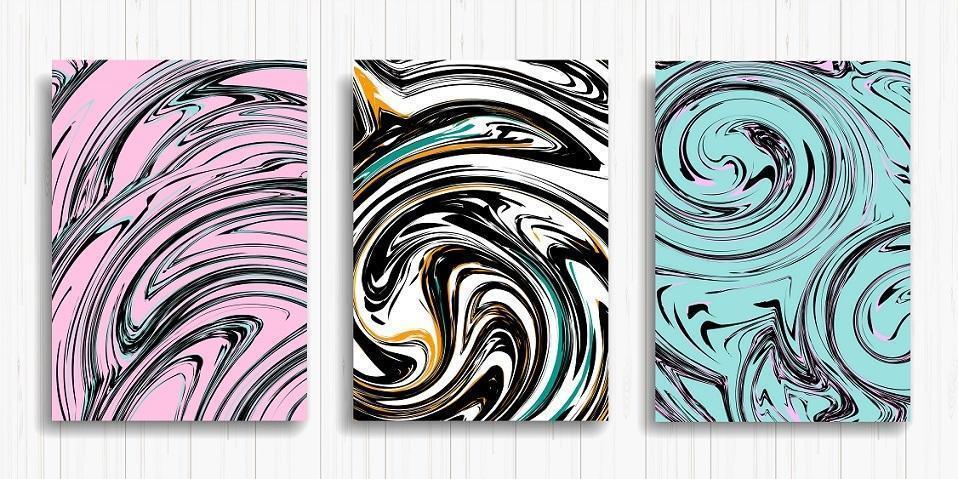 set di carte con inchiostro liquido rosa, bianco e blu vettore