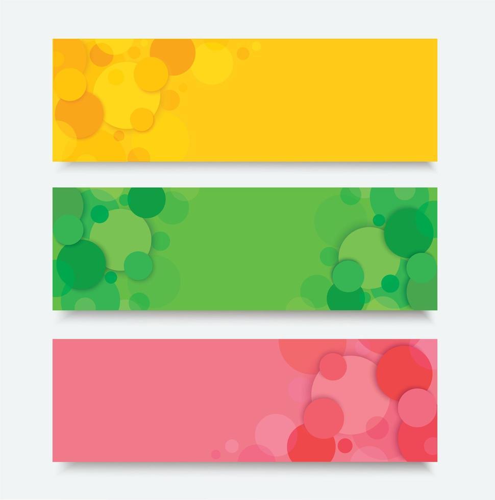 set di banner cerchio colorato astratto vettore