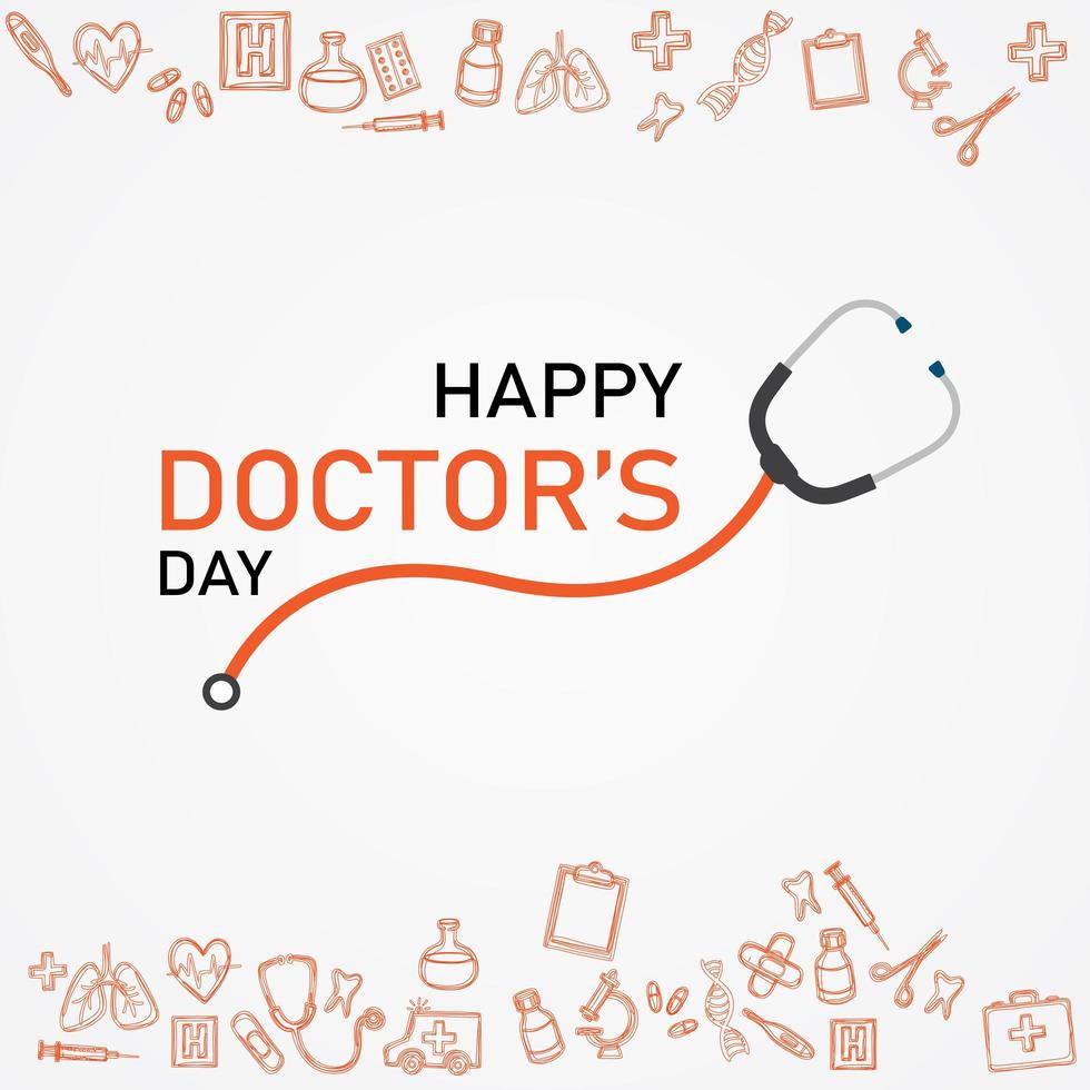 carta del giorno del dottore felice per tutti i guerrieri corona vettore