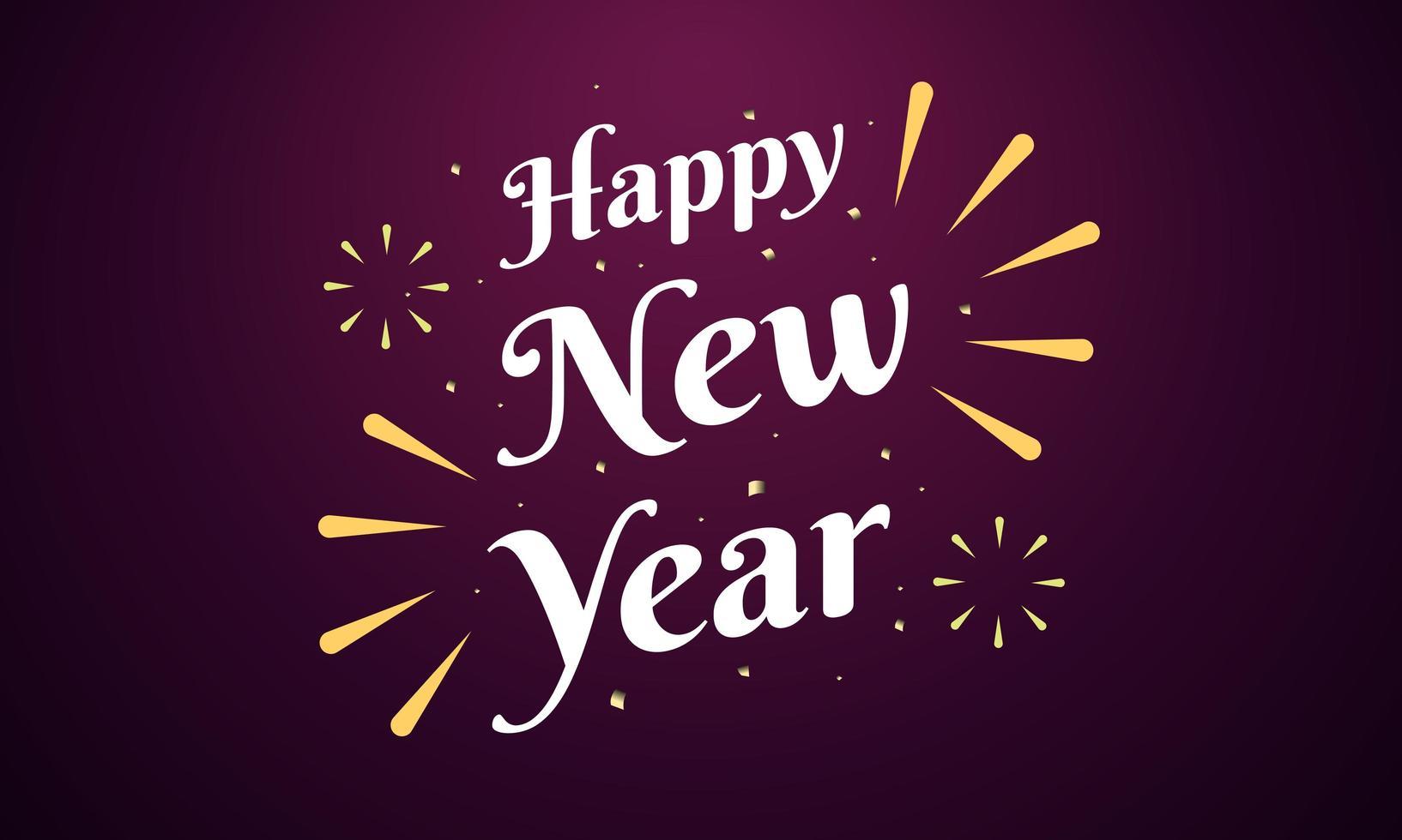 carta di felice anno nuovo con design scintillante di fuochi d'artificio vettore